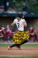 Savannah Bananas Kyler Marquis (3) bats during a Coastal Plain League game against the Macon Bacon on July 15, 2020 at Grayson Stadium in Savannah, Georgia.  Savannah wore kilts for their St. Patrick's Day in July promotion.  (Mike Janes/Four Seam Images)