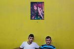 23/06/14 , Kirkuk, Iraq -- Two Iraqi men waiting to play pool inside a billiard room in Eskan, North-East Kirkuk.