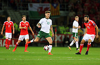 Jeff Hendrick of Ireland (C) passes the ball during the FIFA World Cup Qualifier Group D match between Wales and Republic of Ireland at The Cardiff City Stadium, Wales, UK. Monday 09 October 2017