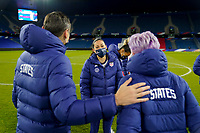 LE HAVRE, FRANCE - APRIL 13: Vlatko Andonovski head coach of the United States congratulates his players during a game between France and USWNT at Stade Oceane on April 13, 2021 in Le Havre, France.