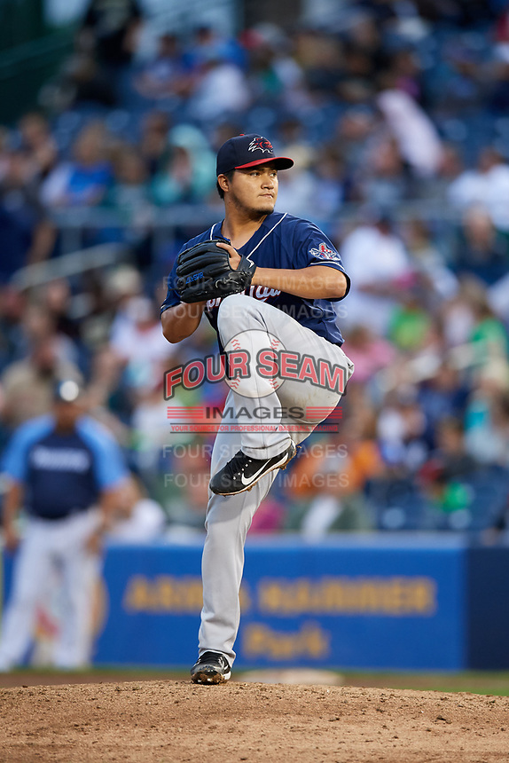 New Hampshire Fisher Cats relief pitcher Francisco Rios delivers a pitch during a game against the Trenton Thunder on August 19, 2018 at ARM & HAMMER Park in Trenton, New Jersey.  New Hampshire defeated Trenton 12-1.  (Mike Janes/Four Seam Images)