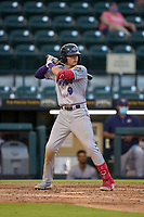 Fort Myers Mighty Mussels Keoni Cavaco (9) bats during a game against the Bradenton Marauders on May 6, 2021 at LECOM Park in Bradenton, Florida.  (Mike Janes/Four Seam Images)