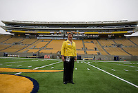 California Athletic Director Sandy Barbour is pictured standing on the field in front of brand new press box before the game at Memorial Stadium in Berkeley, California on September 1st, 2012.  Nevada Wolf Pack defeated California, 31-24.