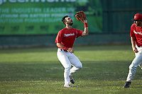 Lake Norman Copperheads left fielder Garrett Smith (14) (North Alabama) tracks a fly ball during the game against the Mooresville Spinners at Moor Park on July 6, 2020 in Mooresville, NC.  The Spinners defeated the Copperheads 3-2. (Brian Westerholt/Four Seam Images)