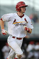 Catcher Charlie Neil (32) of the Johnson City Cardinals in a game against the Elizabethton Twins on Sunday, July 27, 2014, at Howard Johnson Field at Cardinal Park in Johnson City, Tennessee. The game was suspended due to weather in the fifth inning. (Tom Priddy/Four Seam Images)