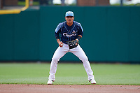 Columbus Clippers shortstop Yu Chang (6) in the field during a game against the Gwinnett Stripers on May 17, 2018 at Huntington Park in Columbus, Ohio.  Gwinnett defeated Columbus 6-0.  (Mike Janes/Four Seam Images)