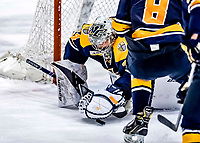 26 January 2019: Merrimack College Warrior Goaltender Logan Halladay, a Sophomore from Cary, NC, makes an overtime save against the University of Vermont Catamounts at Gutterson Fieldhouse in Burlington, Vermont. The Warriors fell to the Catamounts 4-3 in overtime after tying up the game in the dyeing seconds of the third period of their America East conference game. Mandatory Credit: Ed Wolfstein Photo *** RAW (NEF) Image File Available ***