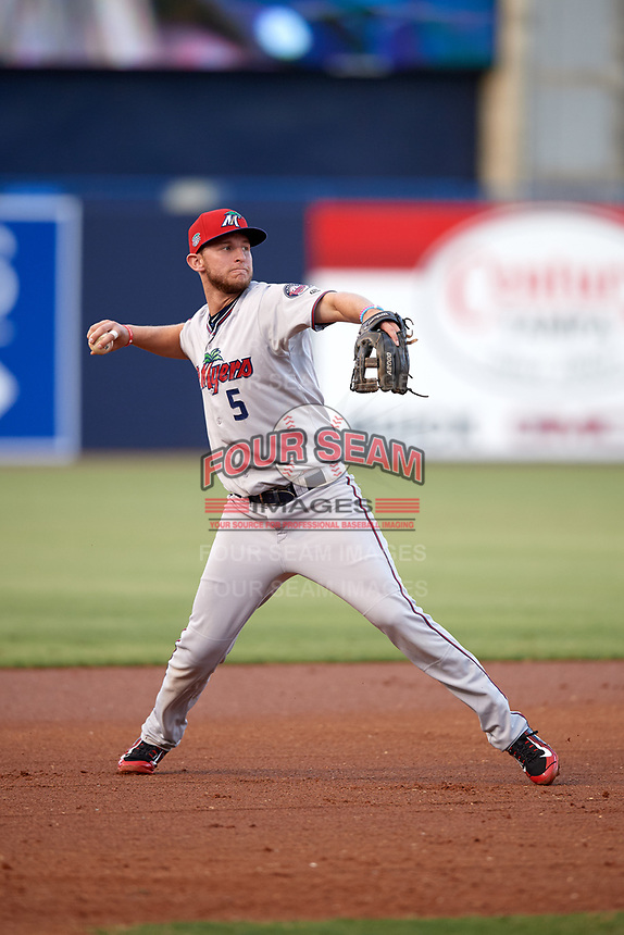 Fort Myers Miracle third baseman Chris Paul (5) throws to first base during a game against the Tampa Yankees on April 12, 2017 at George M. Steinbrenner Field in Tampa, Florida.  Tampa defeated Fort Myers 3-2.  (Mike Janes/Four Seam Images)