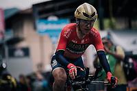 Domenico Pozzovivo (ITA/Bahrain-Merida) crossing the finish line<br /> <br /> stage 16: Trento – Rovereto iTT (34.2 km)<br /> 101th Giro d'Italia 2018