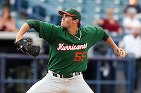 """Miami Hurricanes Steven Ewing #55 during a game vs. the University of South Florida Bulls in the """"Florida Four"""" at George M. Steinbrenner Field in Tampa, Florida;  March 1, 2011.  USF defeated Miami 4-2.  Photo By Mike Janes/Four Seam Images"""