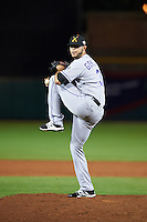 Salt River Rafters pitcher Rayan Gonzalez (31), of the Colorado Rockies organization, during a game against the Scottsdale Scorpions on October 12, 2016 at Scottsdale Stadium in Scottsdale, Arizona.  Salt River defeated Scottsdale 6-4.  (Mike Janes/Four Seam Images)