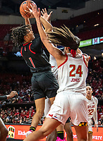 COLLEGE PARK, MD - FEBRUARY 9: Stephanie Jones #24 of Maryland defends a shot by Zipporah Broughton #1 of Rutgers during a game between Rutgers and Maryland at Xfinity Center on February 9, 2020 in College Park, Maryland.