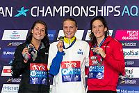 SJOESTROEMSarah SWE Gold Medal<br /> BECKMANNEmilie DEN Silver Medal<br /> BUYSKimberly BEL Bronze Medal<br /> 50m Butterfly Women Final<br /> Glasgow 09/08/2018<br /> Swimming Tollcross International Swimming Centre<br /> LEN European Aquatics Championships 2018 <br /> European Championships 2018 <br /> Photo Giorgio Scala/ Deepbluemedia /Insidefoto