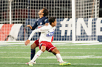 FOXBOROUGH, MA - OCTOBER 16: Colby Quinones #41 of New England Revolution II and Arturo Rodriguez #10 of North Texas SC battle for position under a high ball during a game between North Texas SC and New England Revolution II at Gillette Stadium on October 16, 2020 in Foxborough, Massachusetts.