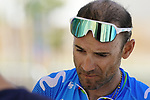 Alejandro Valverde (ESP) Movistar Team before Stage 2 of the 2021 UAE Tour an individual time trial running 13km around  Al Hudayriyat Island, Abu Dhabi, UAE. 22nd February 2021.  <br /> Picture: Eoin Clarke | Cyclefile<br /> <br /> All photos usage must carry mandatory copyright credit (© Cyclefile | Eoin Clarke)