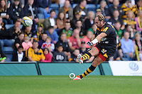 Andy Goode of Wasps takes a penalty kick during the Premiership Rugby Round 2 match between Wasps and Northampton Saints at Adams Park on Sunday 14th September 2014 (Photo by Rob Munro)