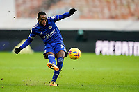 7th February 2021; Molineux Stadium, Wolverhampton, West Midlands, England; English Premier League Football, Wolverhampton Wanderers versus Leicester City; Ricardo Pereira of Leicester City hits a cross into the box