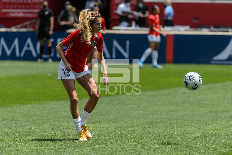 BRIDGEVIEW, IL - JUNE 5: Ryan Williams #13 of the North Carolina Courage warms up before a game between North Carolina Courage and Chicago Red Stars at SeatGeek Stadium on June 5, 2021 in Bridgeview, Illinois.