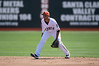 San Jose Giants shortstop Brandon Van Horn (9) during a California League game against the Lancaster JetHawks at San Jose Municipal Stadium on May 13, 2018 in San Jose, California. San Jose defeated Lancaster 3-0. (Zachary Lucy/Four Seam Images)