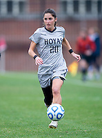 Alexa St. Martin (20) of Georgetown brings the ball up the field during the first round of the NCAA tournament at Shaw Field in Washington, DC.  Georgetown defeated La Salle, 2-0.