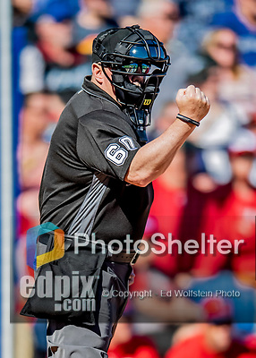6 March 2019: MLB Umpire Marty Foster works home plate during a Spring Training game between the Toronto Blue Jays and the Philadelphia Phillies at Dunedin Stadium in Dunedin, Florida. The Blue Jays defeated the Phillies 9-7 in Grapefruit League play. Mandatory Credit: Ed Wolfstein Photo *** RAW (NEF) Image File Available ***