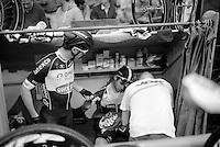 fist bump for good luck by teammates Iljo Keisse (BEL/OmegaPharma-Quickstep) & Mark Cavendish (GBR/OmegaPharma-Quickstep)<br /> <br /> Ghent 6 - day 1
