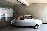 silver car in the garage