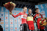 Belgian National Road Cycling Championships 2016 podium:<br /> 1/ Philippe Gilbert (BEL/BMC)<br /> 2/ Tim Wellens (BEL/Lotto-Soudal)<br /> 3/ Greg Van Avermaet (BEL/BMC)<br /> <br /> Les Lacs de l'Eau d'Heure