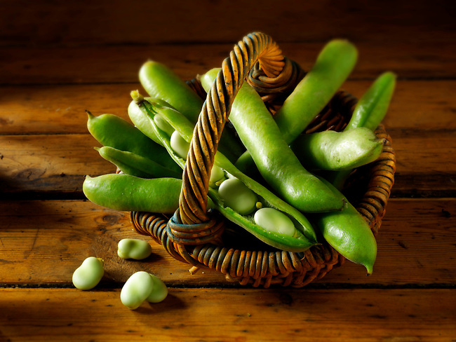Fresh broad beans in the pod