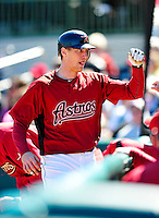 4 March 2010: Houston Astros right fielder Hunter Pence returns to the dugout after hitting a solo home run during the Astros' Grapefruit League Opening Day game against a Washington Nationals' split squad at Osceola County Stadium in Kissimmee, Florida. The Astros defeated the Nationals 15-5 in Spring Training action. Mandatory Credit: Ed Wolfstein Photo