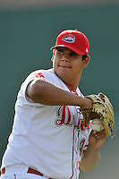 Starting pitcher Dedgar Jimenez (47) of the Greenville Drive warms up before a game against the Augusta GreenJackets on Thursday, June 9, 2016, at Fluor Field at the West End in Greenville, South Carolina. Augusta won, 8-2. (Tom Priddy/Four Seam Images)
