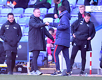 5th April 2021; Madejski Stadium, Reading, Berkshire, England; English Football League Championship Football, Reading versus Derby County;  Veljko Paunovic Manager of Reading bumps Hans with Wayne Rooney Manager of Derby County at the end of the match with Reading winning 3-1