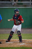 Potomac Nationals catcher Jakson Reetz (1) during a Carolina League game against the Myrtle Beach Pelicans on August 14, 2019 at Northwest Federal Field at Pfitzner Stadium in Woodbridge, Virginia.  Potomac defeated Myrtle Beach 7-0.  (Mike Janes/Four Seam Images)