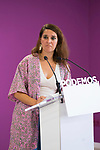 Spokeperson of Podemos Coordination Council, Noelia Vera, attends to the media in a press conference.. September 30, 2019. (ALTERPHOTOS/Francis Gonzalez)