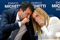 The leader of Lega right party Matteo Salvini and the leader of Fratelli d Italia right party Giorgia Meloni (r) talk during an electoral campaign press conference for the mayoral election in Spinaceto, a peripheral neighborhood in the west of Rome on October 1st 2021. Photo Andrea Staccioli Insidefoto