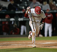 Arkansas right fielder Caden Wallace slams the bat to the ground Thursday, April 1, 2021, after making the final out of the Razorbacks' 2-1 loss to Auburn at Baum-Walker Stadium in Fayetteville. Visit nwaonline.com/210402Daily/ for today's photo gallery. <br /> (NWA Democrat-Gazette/Andy Shupe)