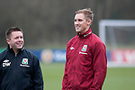 Cardiff - UK - 19th March 2013 : Jack Collison (right) in relaxed mood during Wales football squad training at the Vale Hotel and Resort pitch ahead of their international with Scotland at the weekend.