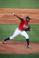 Mississippi Braves pitcher Tyrell Jenkins (11) delivers a pitch during a game against the Pensacola Blue Wahoos on May 28, 2015 at Trustmark Park in Pearl, Mississippi.  Mississippi defeated Pensacola 4-2.  (Mike Janes/Four Seam Images)