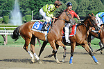 Brown Eyes Blue (no. 3), ridden by Shaun Bridgmohan and trained by Dale Romans, in the post parade before the 94th running of the grade 3 Schuylerville Stakes for two year old fillies on July 20, 2012 at Saratoga Race Track in Saratoga Springs, New York.  (Bob Mayberger/Eclipse Sportswire)