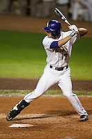 LSU Tigers designated hitter Grant Dozar #7 at bat against the Mississippi State Bulldogs during the NCAA baseball game on March 16, 2012 at Alex Box Stadium in Baton Rouge, Louisiana. LSU defeated Mississippi State 3-2 in 10 innings. (Andrew Woolley / Four Seam Images).