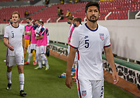 , MEXICO - : Mauricio Pineda #5 of the U-23 USMNT walking out during a game between  and undefined at  on ,  in , Mexico.