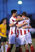 Aztek players celebrate Eddie Johnson's opening goal...AC St Louis were defeated 1-2 by Austin Aztek in their inaugural home game in front of 5,695 fans at Anheuser-Busch Soccer Park, Fenton, Missouri.