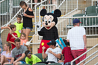 Mickey Mouse was on hand for Disney Night during the South Atlantic League game between the West Virginia Power and the Kannapolis Intimidators at Kannapolis Intimidators Stadium on June 17, 2017 in Kannapolis, North Carolina.  The Power defeated the Intimidators 6-1.  (Brian Westerholt/Four Seam Images)