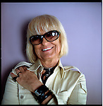 Barbara Hulanicki, a multidimensional artist, poses in the Lucite Suite at the Kent Hotel formerly owned by Chris Blackwell of Island Records on South Beach. Hulanicki is the designer of the Marlin, Kent and Netherland Hotel in Miami Beach.