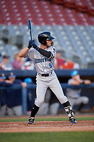 Hudson Valley Renegades right fielder Jordan Qsar (9) at bat during a game against the Connecticut Tigers on August 20, 2018 at Dodd Stadium in Norwich, Connecticut.  Hudson Valley defeated Connecticut 3-1.  (Mike Janes/Four Seam Images)