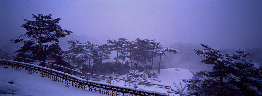 Snowy view from a hotel in Sendai, Japan.  One image from the Hasselblad XPan camera.