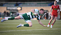 20th February 2021; Trailfinders Sports Club, London, England; Trailfinders Challenge Cup Rugby, Ealing Trailfinders versus Doncaster Knights; Steven Shingler of Ealing Trailfinders dives to score a try