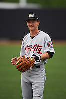 Tri-City ValleyCats outfielder Johnny Sewald (33) warms up before a game against the Aberdeen Ironbirds on August 6, 2015 at Ripken Stadium in Aberdeen, Maryland.  Tri-City defeated Aberdeen 5-0 in a combined no-hitter.  (Mike Janes/Four Seam Images)