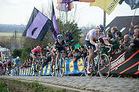 Zdenek Stybar (CZE/Etixx-QuickStep) (who lost some teeth along the way) & Geraint Thomas (GBR/SKY) charging up the Paterberg cobbles<br /> <br /> 99th Ronde van Vlaanderen 2015