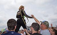 May 11, 2013; Commerce, GA, USA: NHRA top fuel dragster driver Brittany Force during the Southern Nationals at Atlanta Dragway. Mandatory Credit: Mark J. Rebilas-
